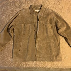 Perry Ellis, Suede Jacket, Tan, XL